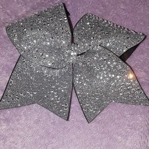 Silver Bedazzled Cheer Bow